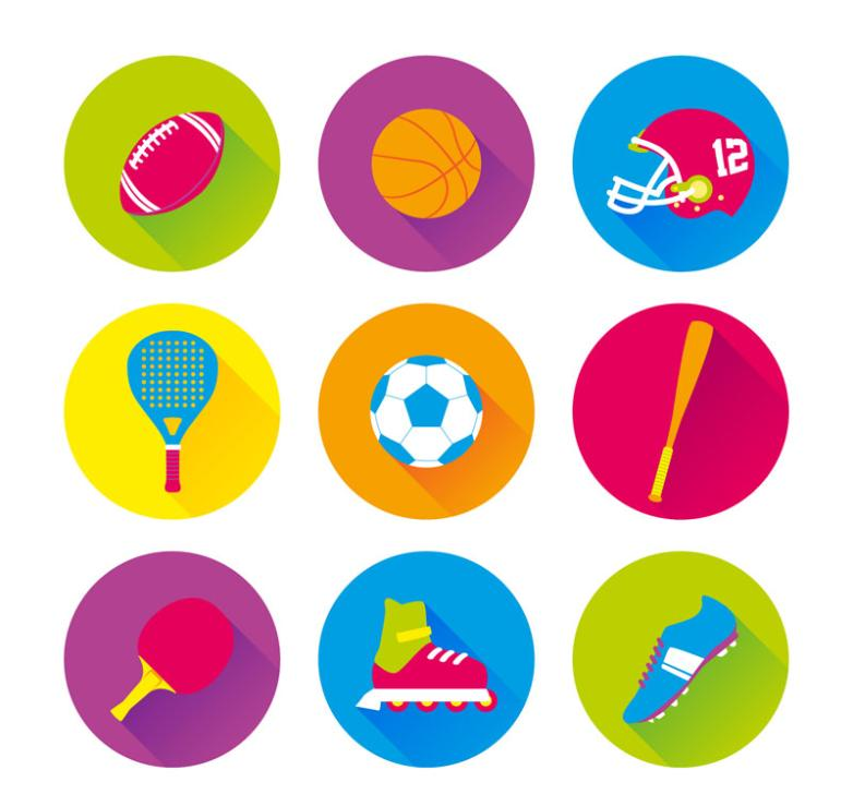 Nine New Color Sports Icon Vector
