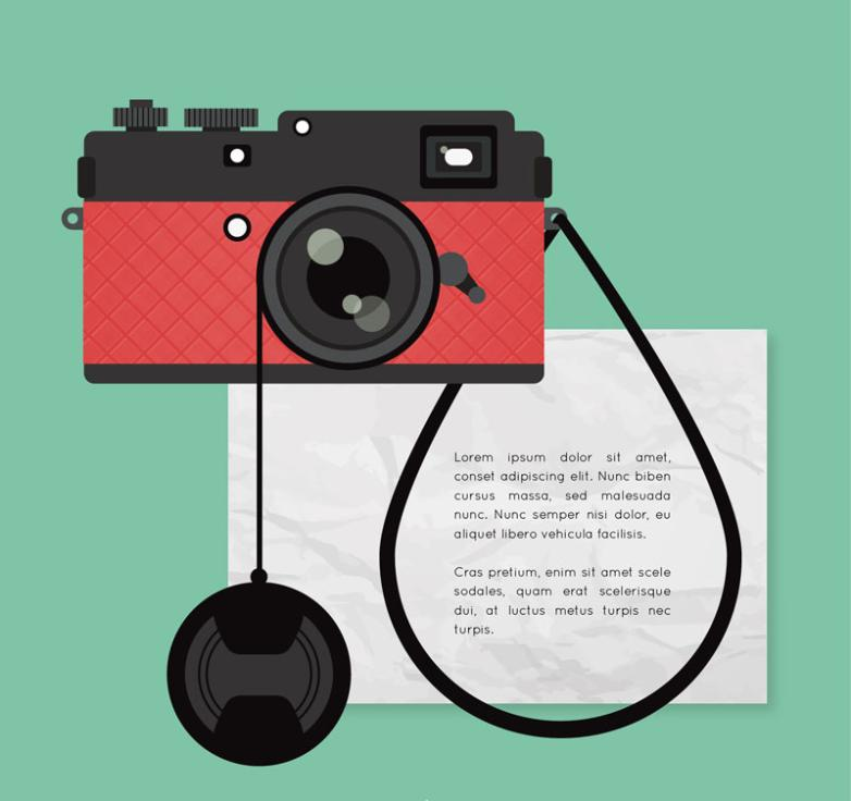 Fashion Red Camera Vector