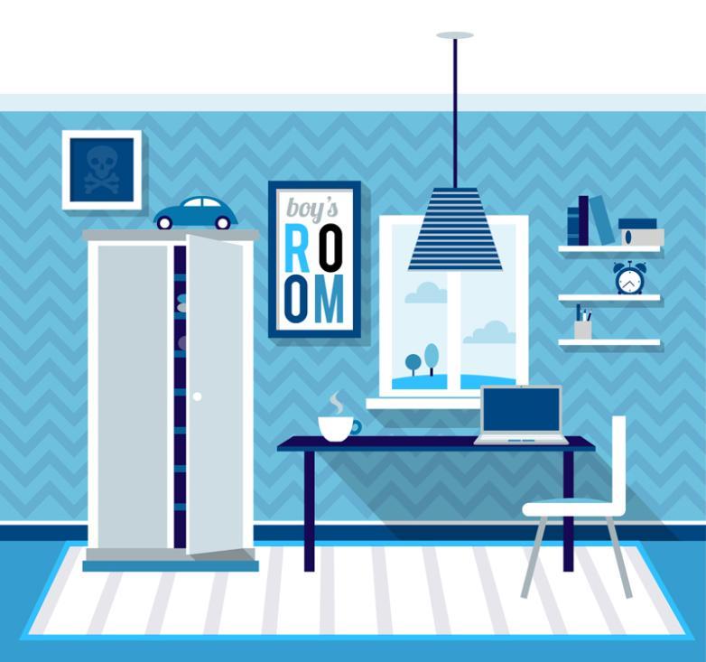 Blue Children Room Design Vector