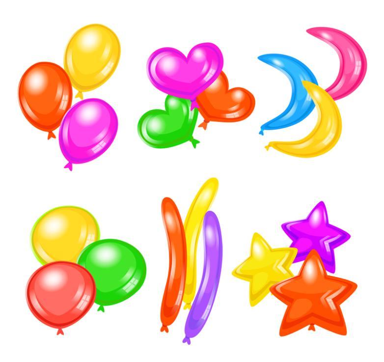 Six Color Balloon Design Vector