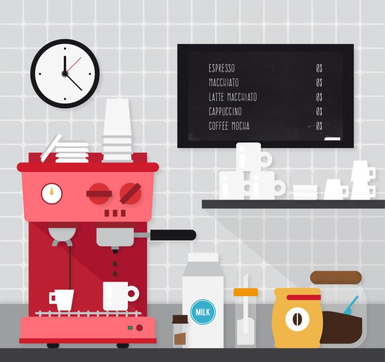 The Kitchen And A Cup Of Coffee Machine Vector
