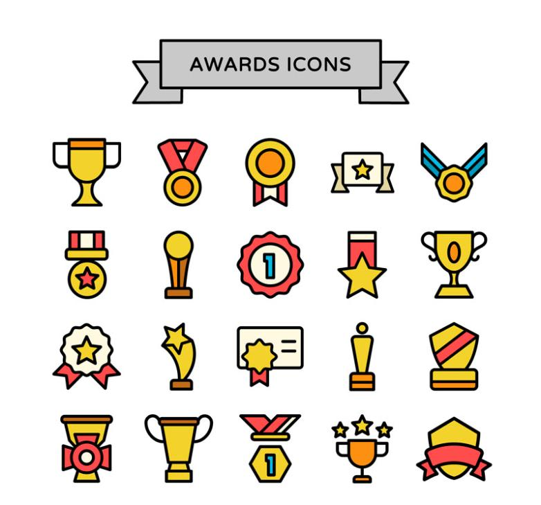 20 Trophy Testimonials Icon Vector