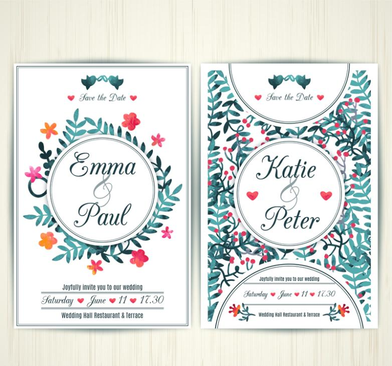 Pure And Fresh And Watercolor Wedding Invitation Card Vector