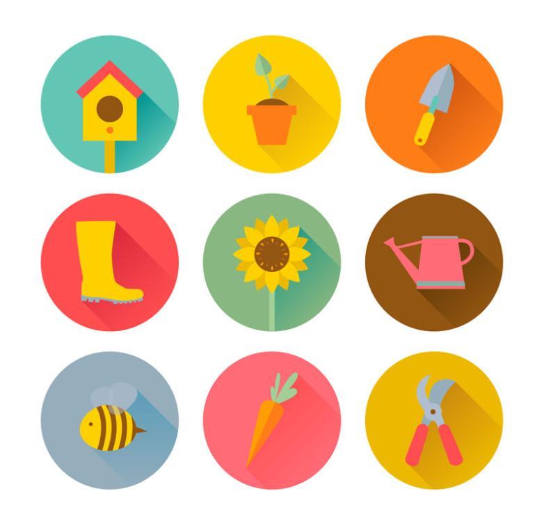 Nine New Round Gardening Icon Vector