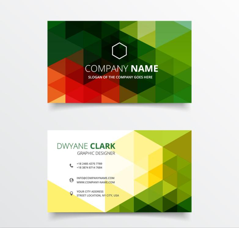 Triangle Color Business Card Design Vector