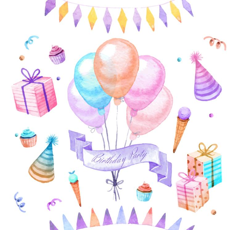 Birthday Party 10 Water Coloured Drawing Or Pattern Elements Vector