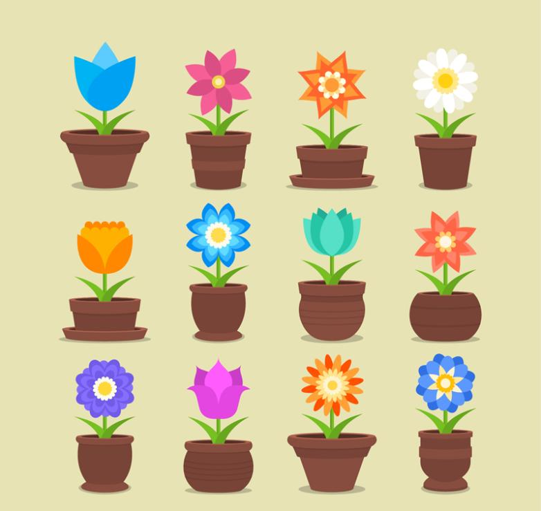 12 Potted Flowers Vector
