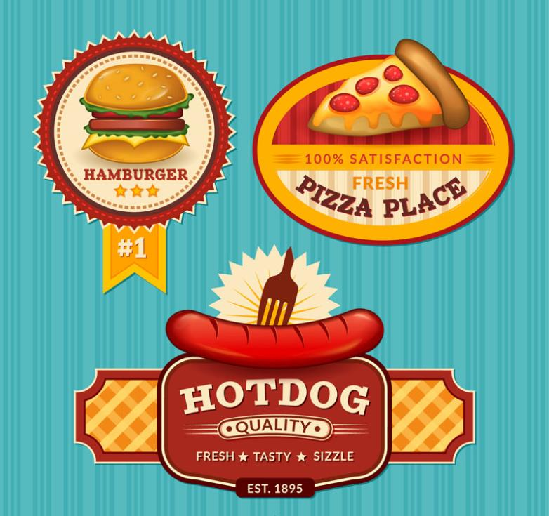 Three Color Fast Food Labels Vector