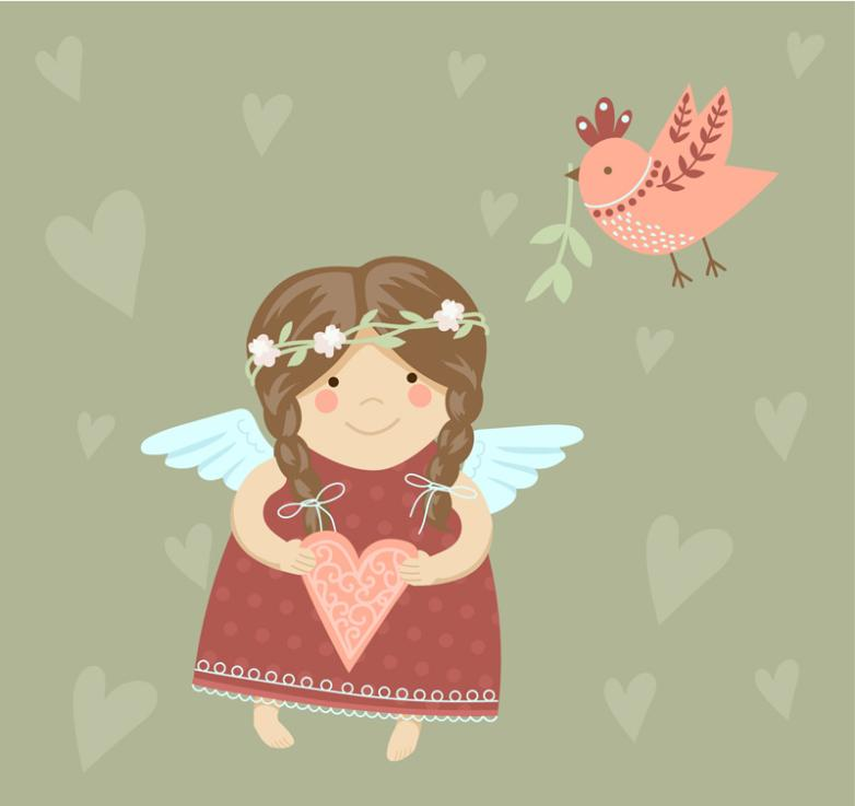 Lovely Angel Girl With Birds Vector