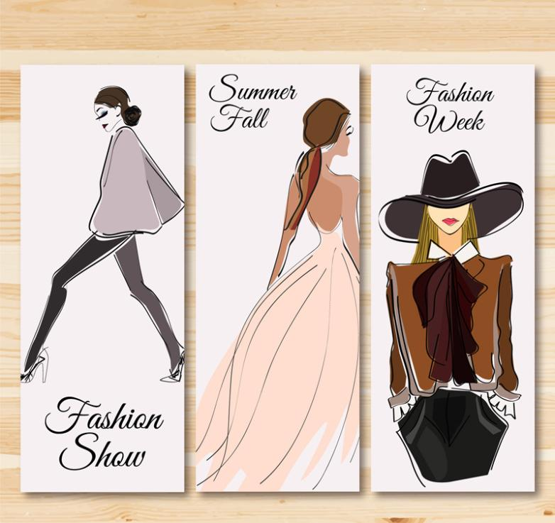 Three Very Fashionable Banner Vector