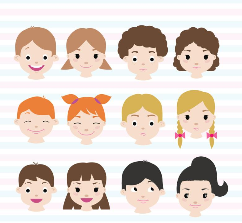 12 Lovely Children Vector