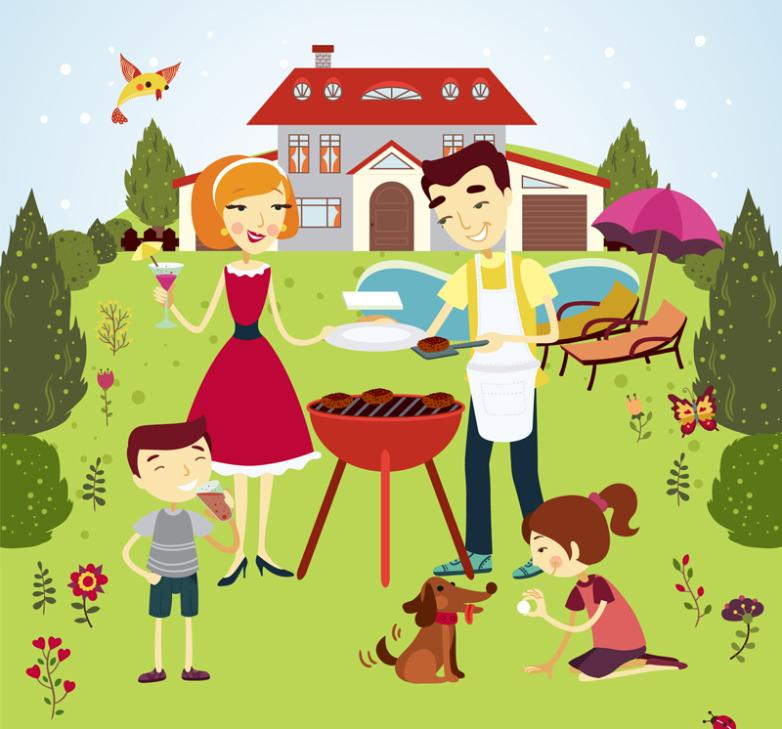 A Family Of Four Of Outdoor Barbecue Vector