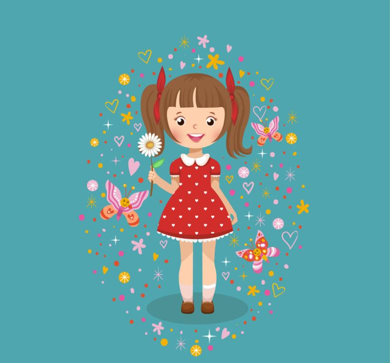Cartoon Red Skirt Girl Vector