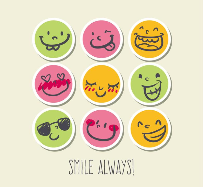 Nine New Round Paper Smiling Face Vector