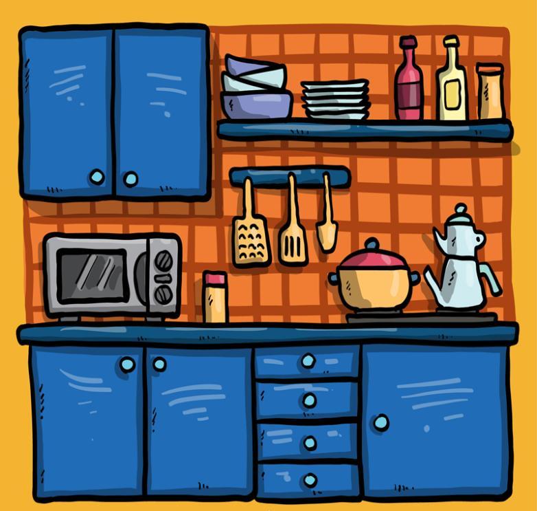 Cartoon Blue Kitchen Design Vector