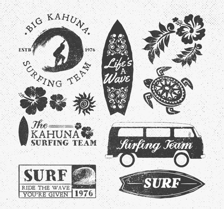 Eight Surf Creative Elements Vector