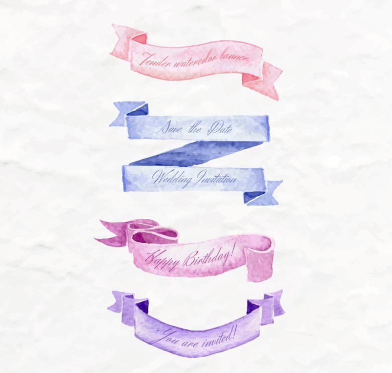 4 Fresh Watercolor Banners Vector