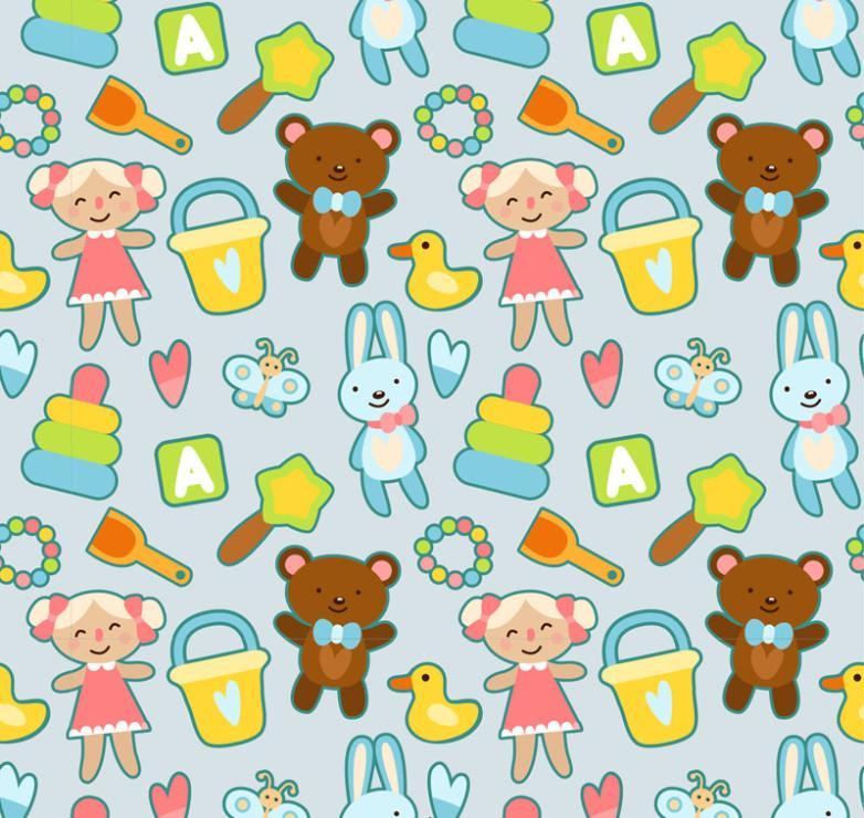 Seamless Background Cartoon Toys Vector