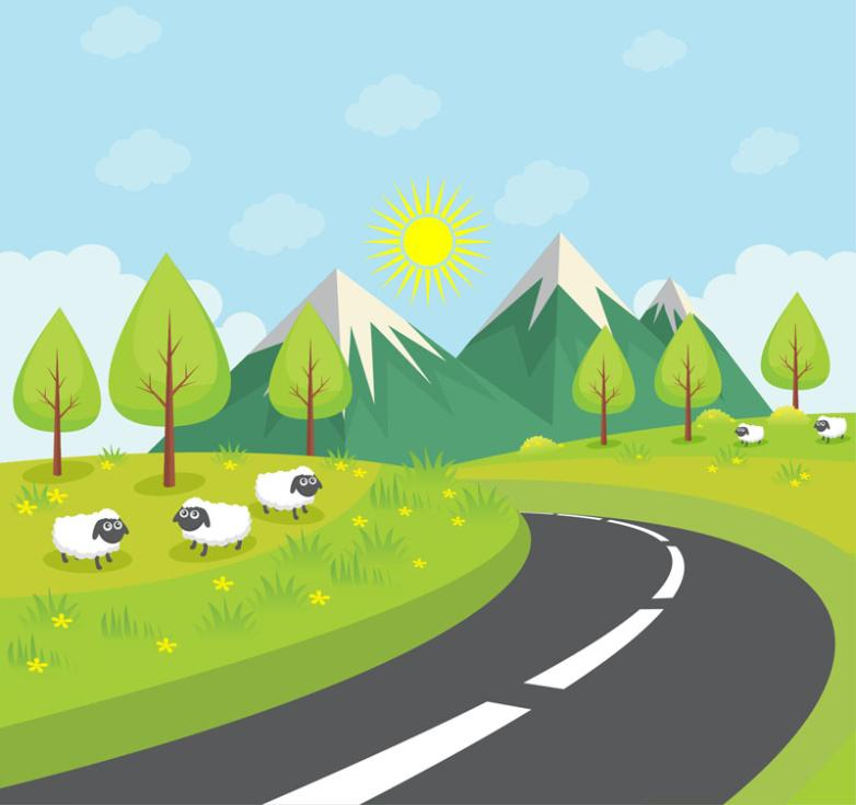 On The Outskirts Of Highway Landscape And Sheep Vector