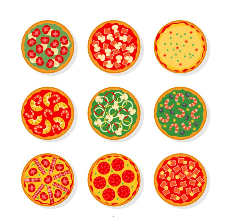 Nine New Delicious Pizza Vertical View Vector