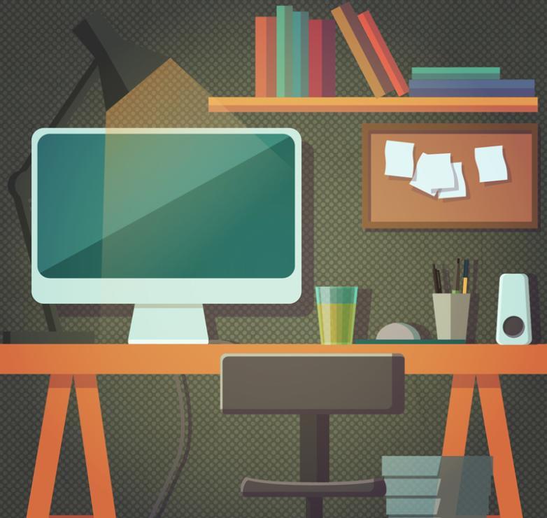 Fashion Design Study Desk Vector