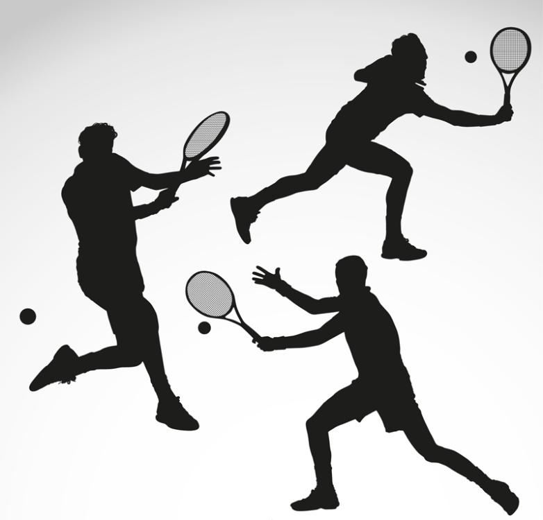 Three Figures Of Playing Tennis Vector