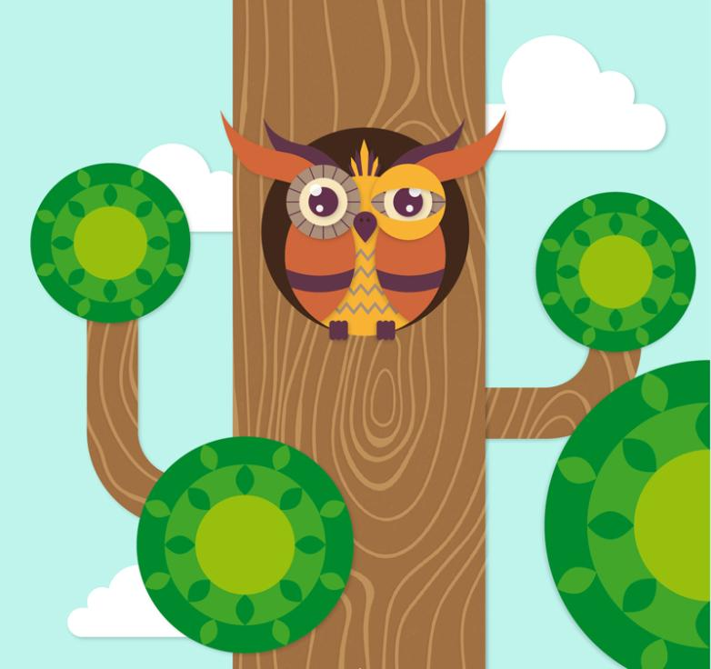 The Owl Of Cartoon In The Tree Hole Vector
