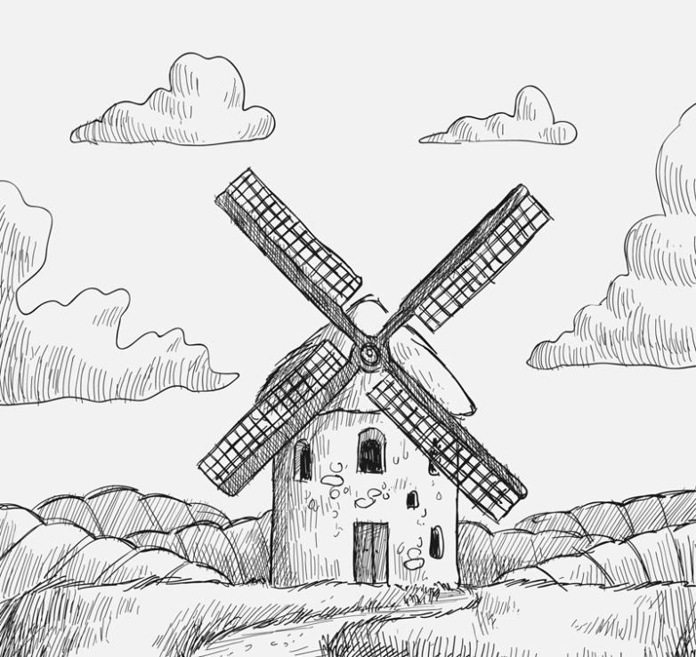 Hand-painted Windmills Vector