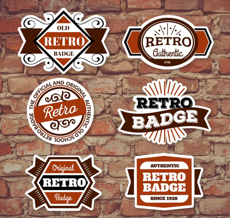 Six Retro Fashion Labels Vector