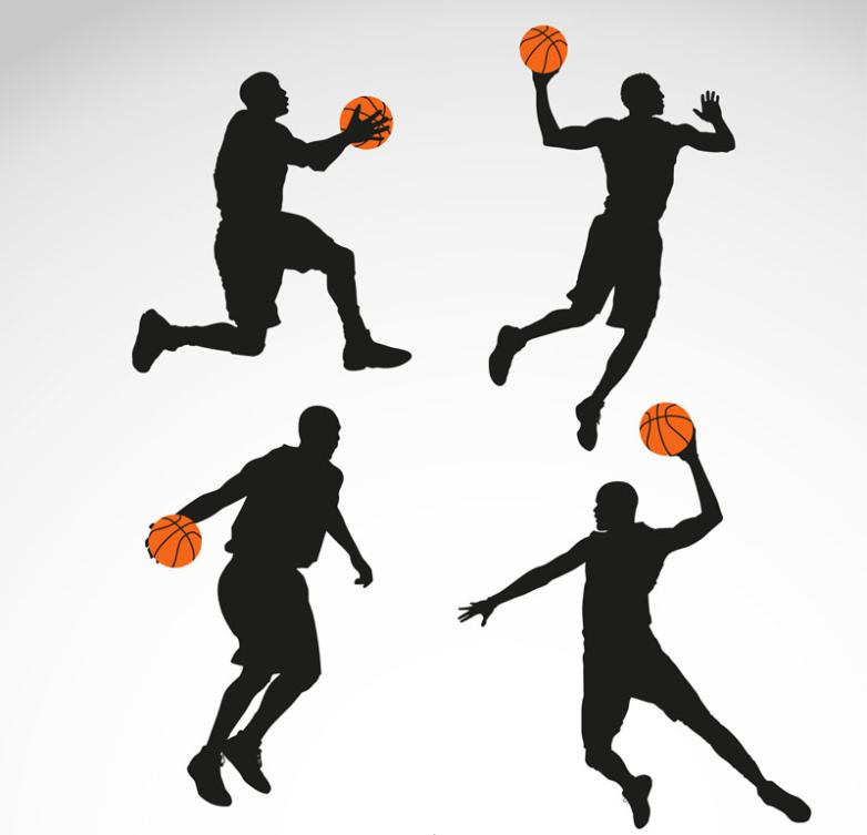 Four Men Basketball Silhouette Vector