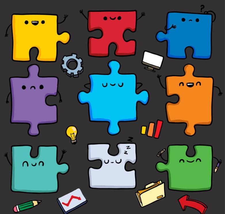 Nine New Color Cartoon Jigsaw Puzzle Piece Of Design Vector