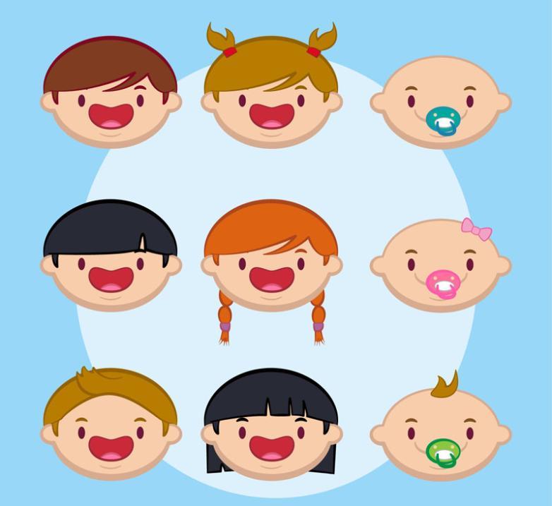 Nine New Lovely Children Face Vector