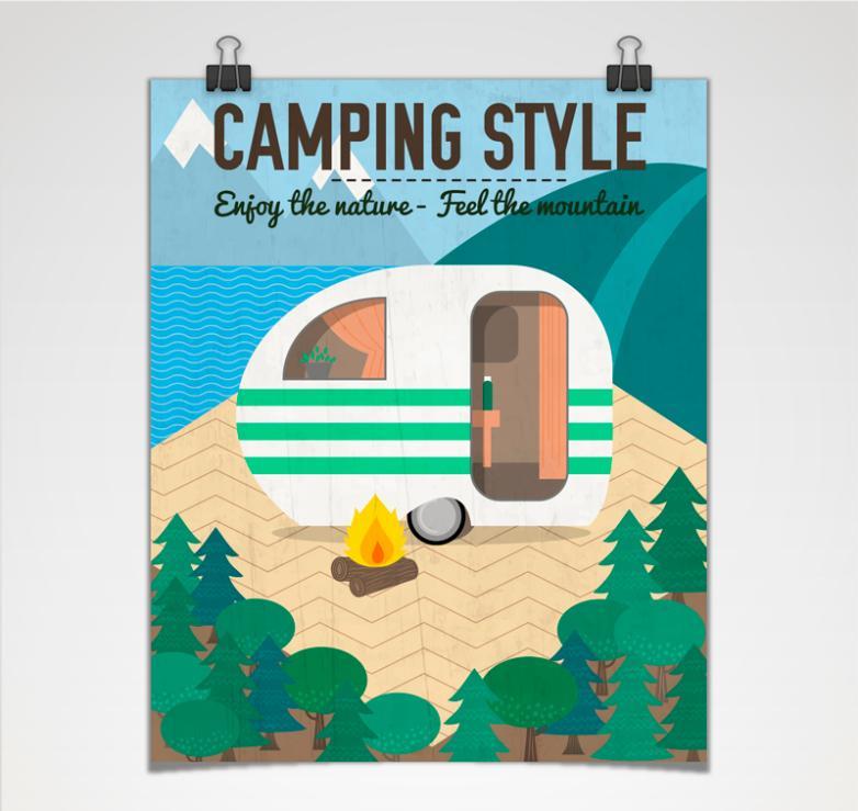 Cartoon Posters Rv Camping Vector