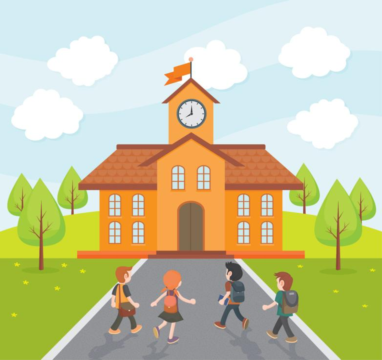 Cartoon School Students Illustrations Vector