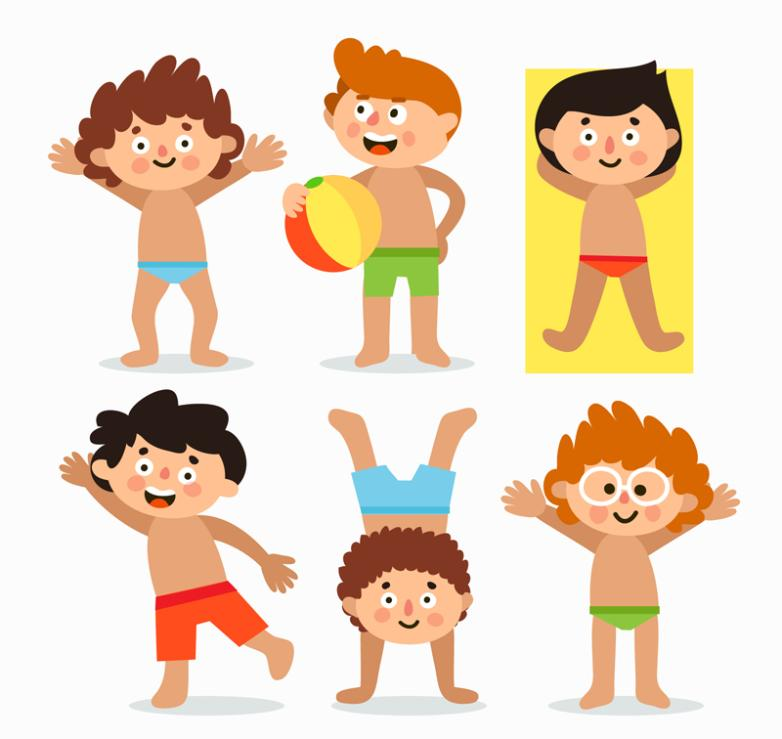 Six Lovely Children Summer Wear Swimming Trunks Vector