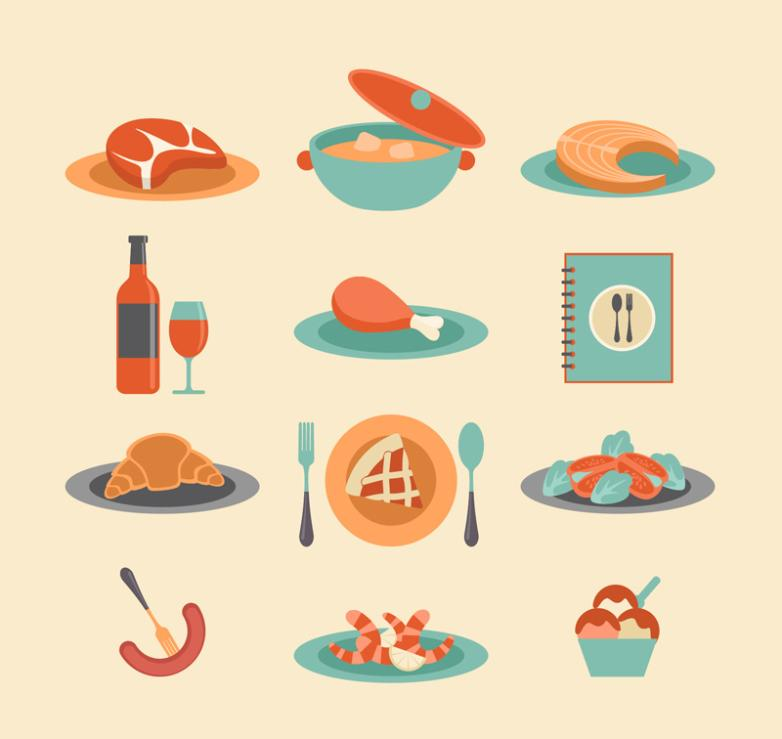 12 Catering Food Design Vector