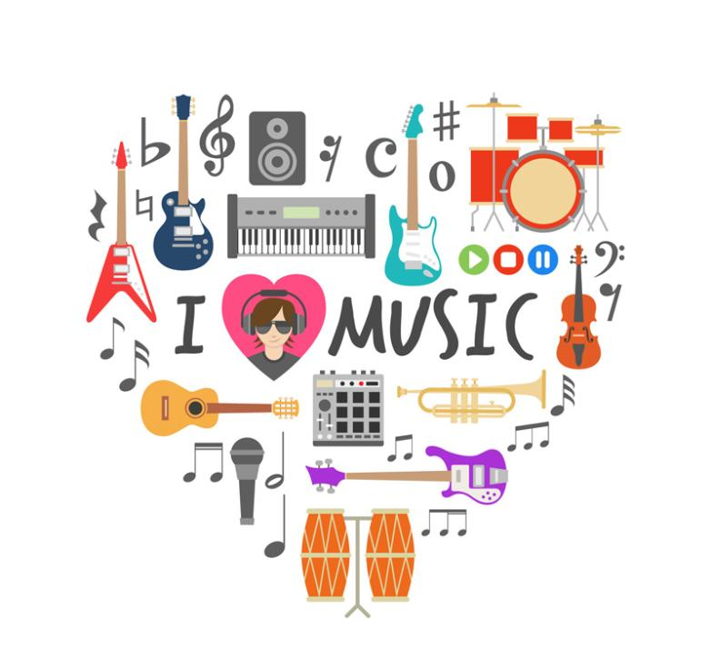 Love Music Elements Combination Vector