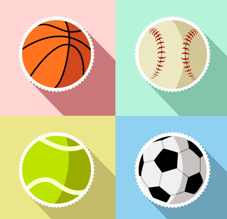 4 Creative Ball Stickers Vector