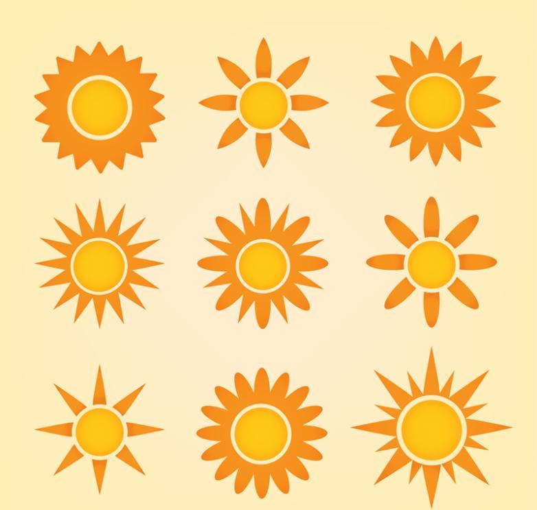 Nine New Orange Sun Icon Vector
