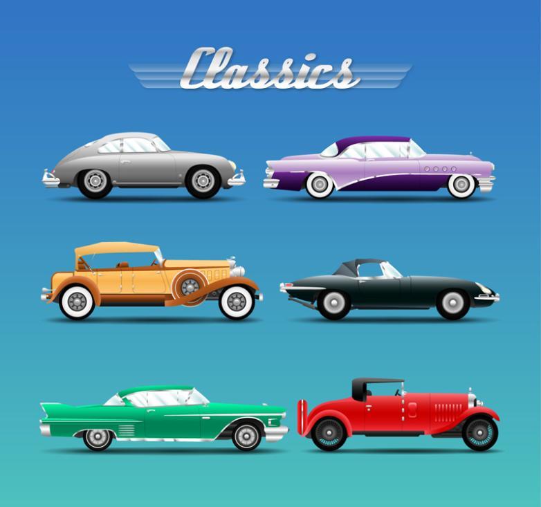Six Car Design Restoring Ancient Ways Vector