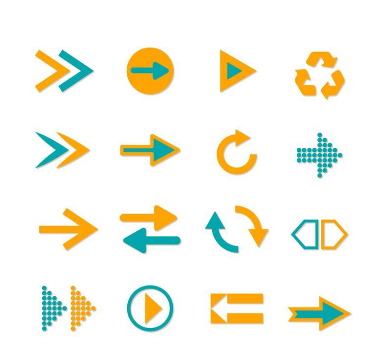16 Double Color Arrow Icon Vector