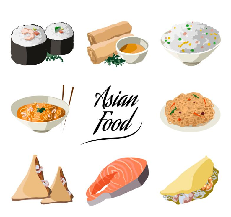 Eight Delicious Asian Food Vector