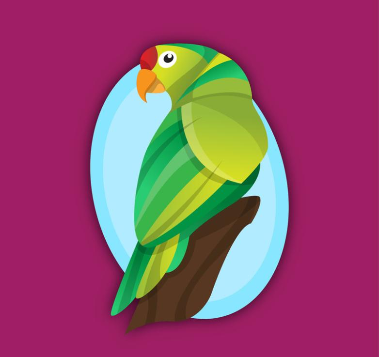 Beautiful Green Parrot Vector