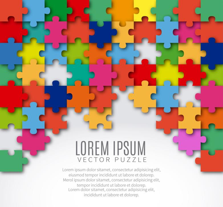 Background Color Puzzle Pieces Vector
