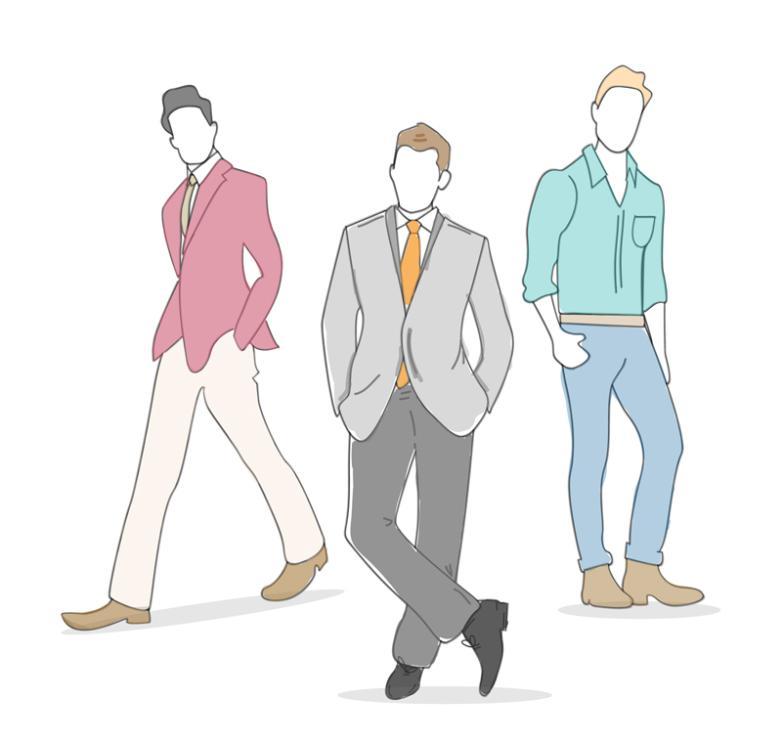 Three Men's Fashion Models Vector