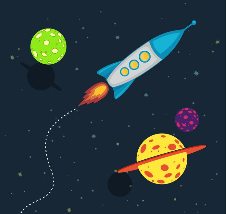 Creative Space Rocket And Planet Illustrations Vector