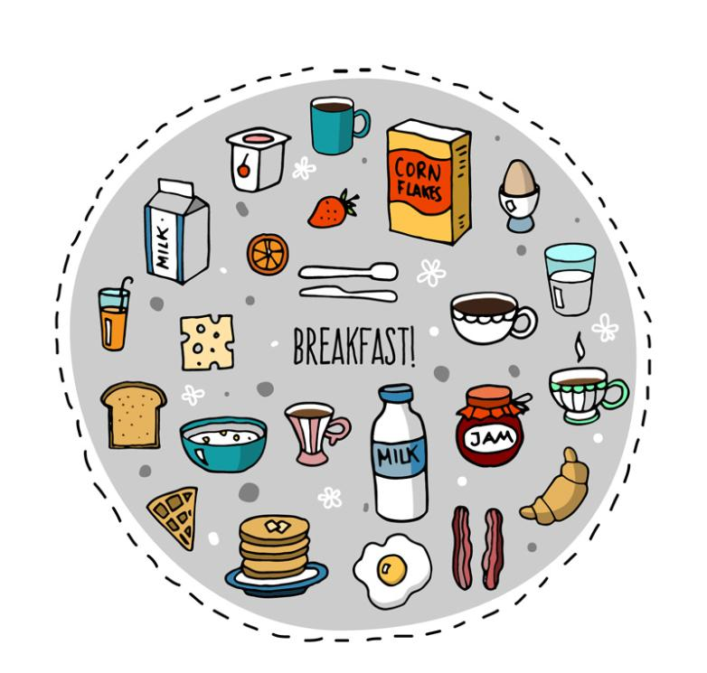 22 Coloured Drawing Or Pattern Breakfast Food Vector