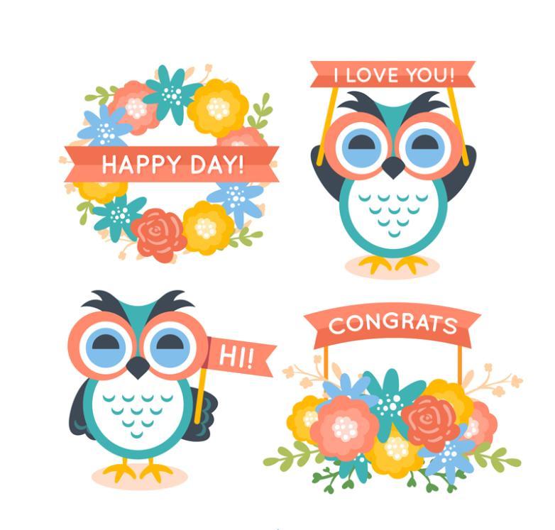 4 Cartoon Flowers And Owl Vector