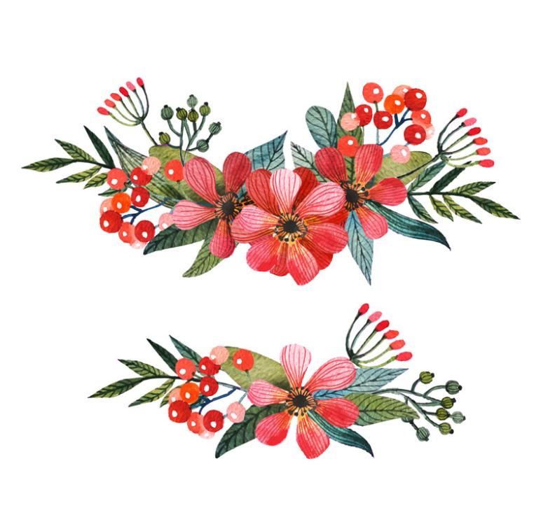 2 Red Water Painting Flowers Vector