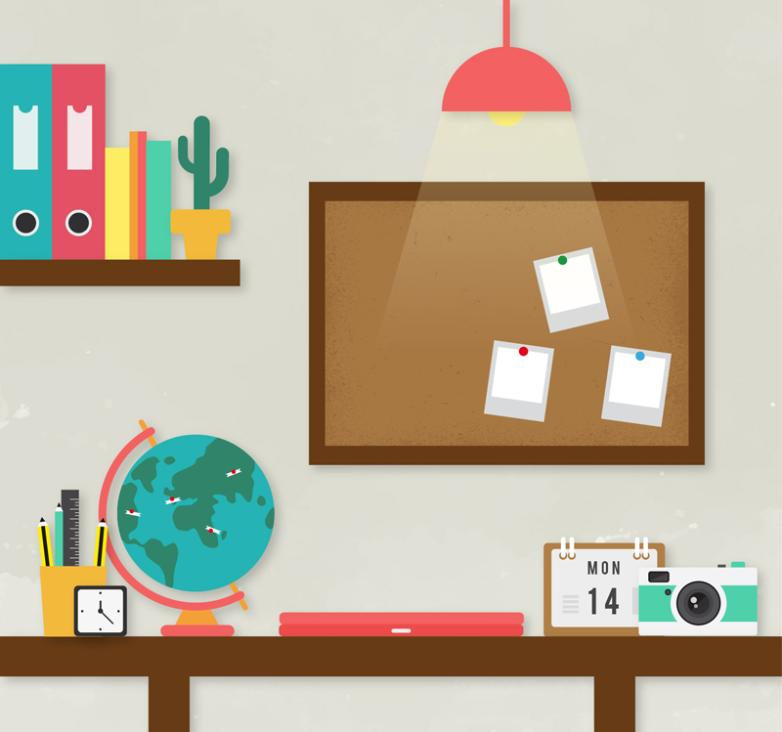 Neat Illustrations Study Desk Vector